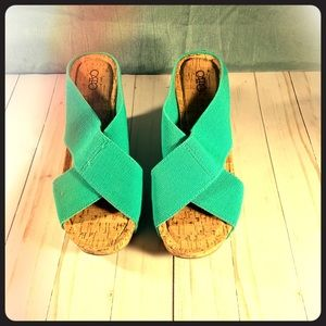 NEVER WORN Turquoise Wedge sz 8